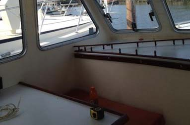 Port side cabin (interior) as it's been since the boat was purchased.