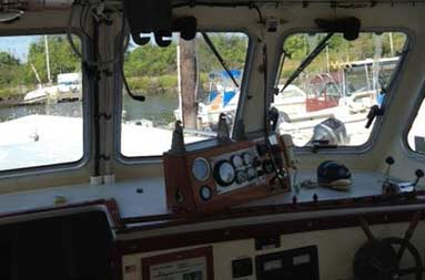 Old, outdated helm station (inside the boat)