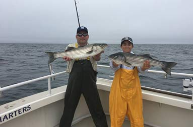 A father, wearing black waders, stands next to his teenage son wearing yellow waders, each holding up a striped bass.